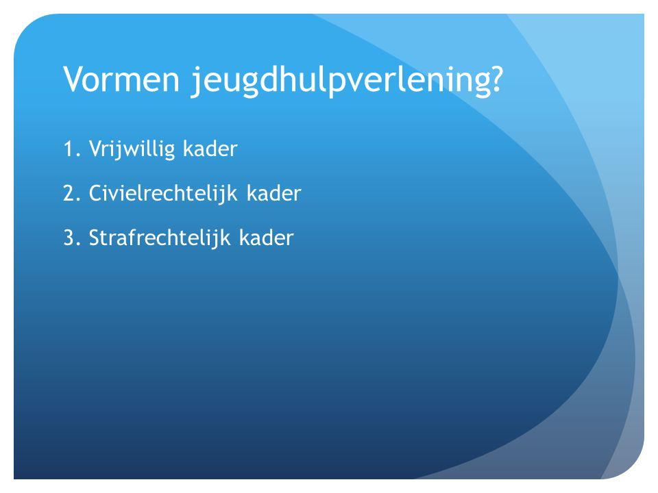 Vormen jeugdhulpverlening 1. Vrijwillig kader 2. Civielrechtelijk kader 3. Strafrechtelijk kader