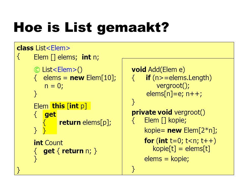 Hoe is List gemaakt? class List { } Elem [] elems; int n; © List () { elems = new Elem[10]; n = 0; } Elem Get (int p) { return elems[p]; } int Count {