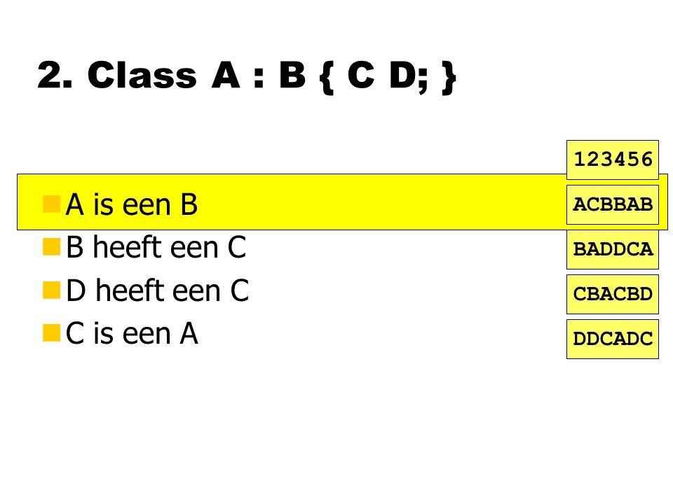 2. Class A : B { C D; } nA is een B nB heeft een C nD heeft een C nC is een A ACBBAB BADDCA CBACBD DDCADC 123456