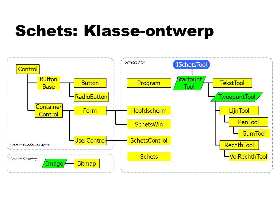 Schets: Klasse-ontwerp Control Form UserControl Hoofdscherm SchetsWin SchetsControl Schets ImageBitmap Button Base Button RadioButton SchetsEditor Sys