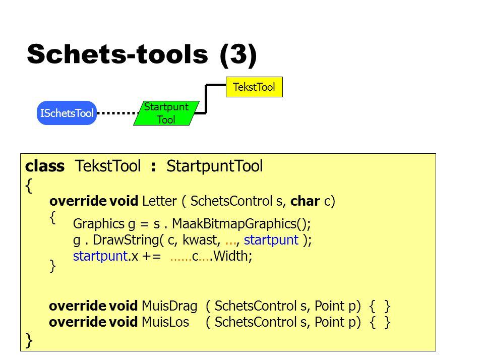 Schets-tools (3) ISchetsTool TekstTool Startpunt Tool class TekstTool : StartpuntTool { } override void Letter ( SchetsControl s, char c) { } Graphics