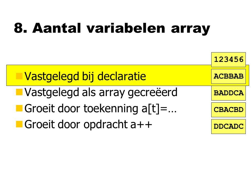 8. Aantal variabelen array nVastgelegd bij declaratie nVastgelegd als array gecreëerd nGroeit door toekenning a[t]=… nGroeit door opdracht a++ ACBBAB