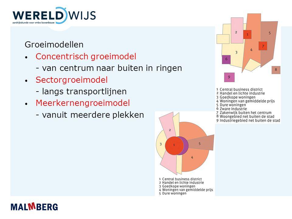 Groeimodellen Concentrisch groeimodel - van centrum naar buiten in ringen Sectorgroeimodel - langs transportlijnen Meerkernengroeimodel - vanuit meerd