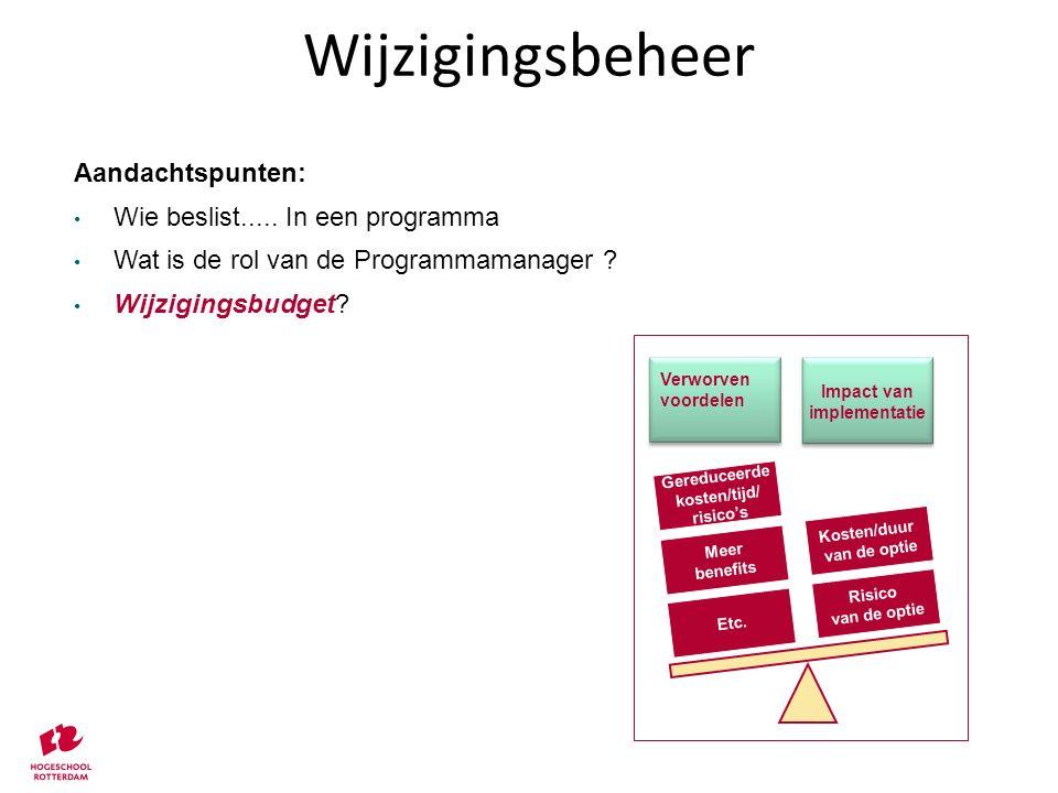 Aandachtspunten: Wie beslist..... In een programma Wat is de rol van de Programmamanager ? Wijzigingsbudget? Etc. Meer benefits Gereduceerde kosten/ti