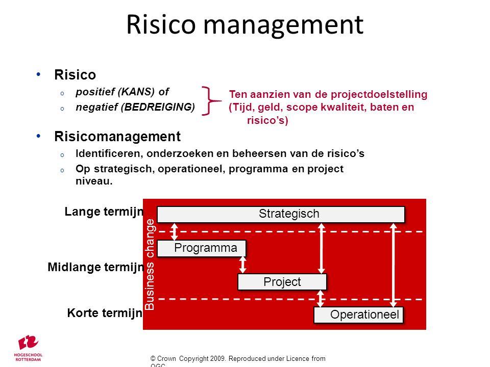 Risico o positief (KANS) of o negatief (BEDREIGING) Risicomanagement o Identificeren, onderzoeken en beheersen van de risico's o Op strategisch, opera