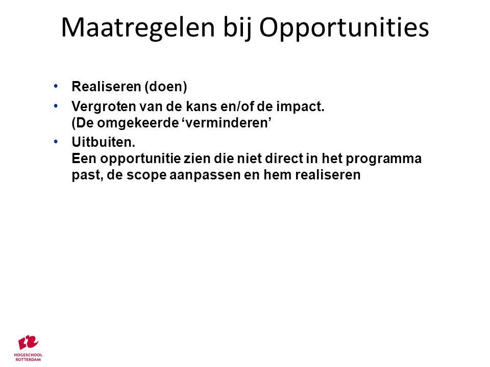 Maatregelen bij Opportunities Realiseren (doen) Vergroten van de kans en/of de impact. (De omgekeerde 'verminderen' Uitbuiten. Een opportunitie zien d