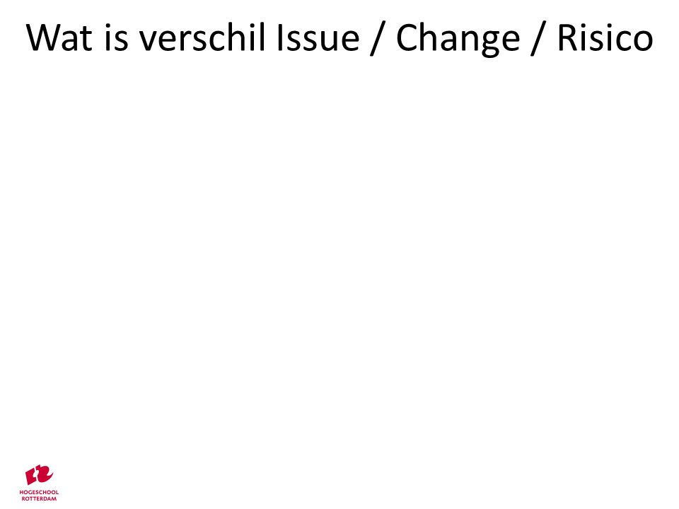 Relaties tussen risico's op diverse niveaus Change Management Objectives Day-to-day Management Objectives Strategic Risks Programme Risks Operational Risks Project Risks