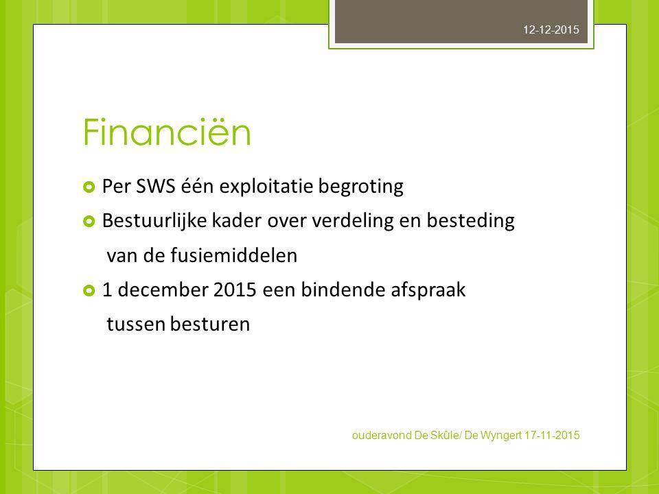 Financiën  Per SWS één exploitatie begroting  Bestuurlijke kader over verdeling en besteding van de fusiemiddelen  1 december 2015 een bindende afs