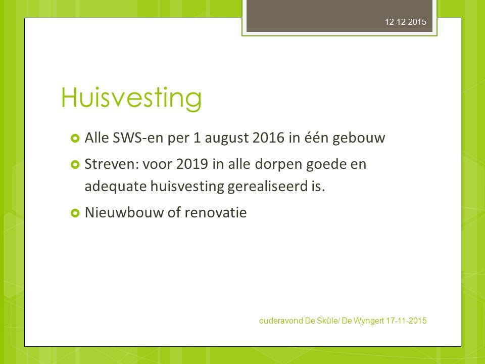 Huisvesting  Alle SWS-en per 1 august 2016 in één gebouw  Streven: voor 2019 in alle dorpen goede en adequate huisvesting gerealiseerd is.  Nieuwbo