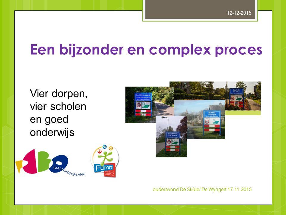 Vier dorpen, vier scholen en goed onderwijs Een bijzonder en complex proces ouderavond De Skûle/ De Wyngert 17-11-2015 12-12-2015