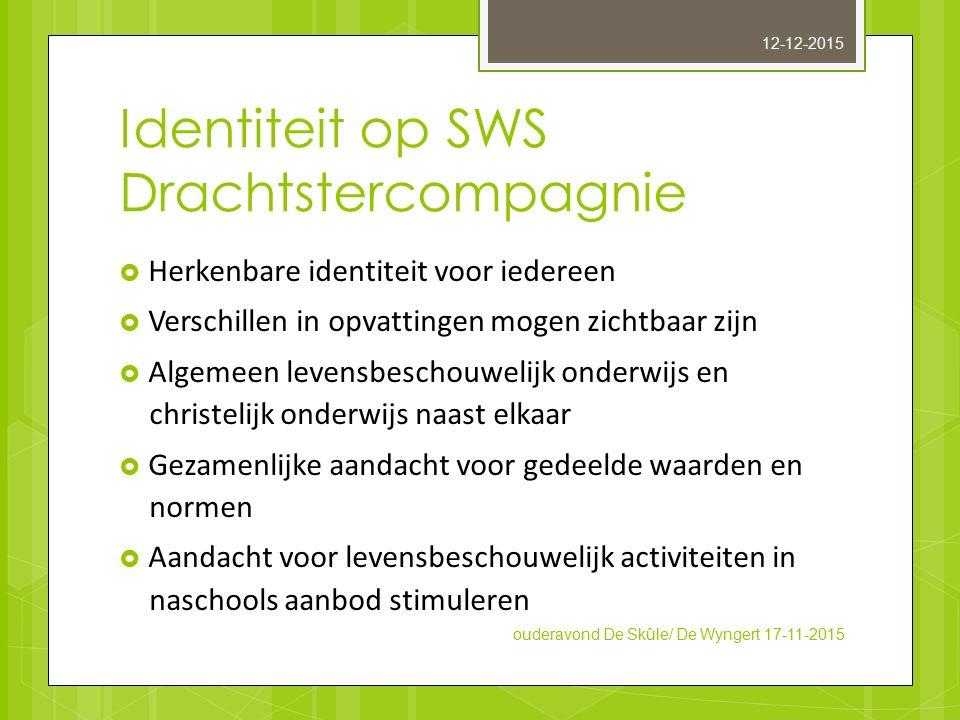 Identiteit op SWS Drachtstercompagnie  Herkenbare identiteit voor iedereen  Verschillen in opvattingen mogen zichtbaar zijn  Algemeen levensbeschou
