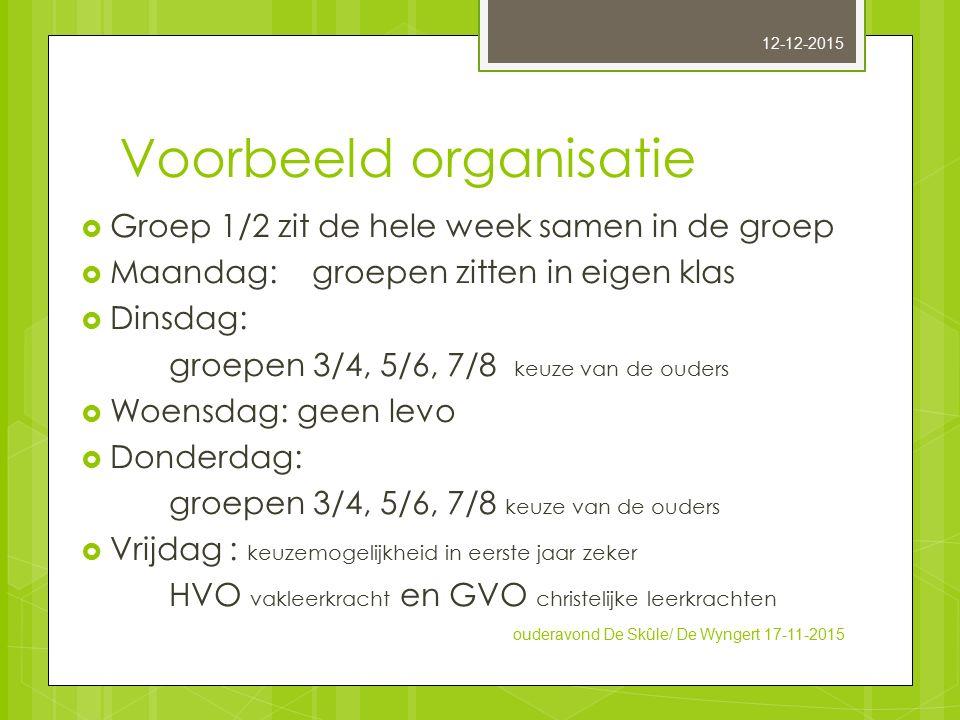 Voorbeeld organisatie  Groep 1/2 zit de hele week samen in de groep  Maandag: groepen zitten in eigen klas  Dinsdag: groepen 3/4, 5/6, 7/8 keuze va