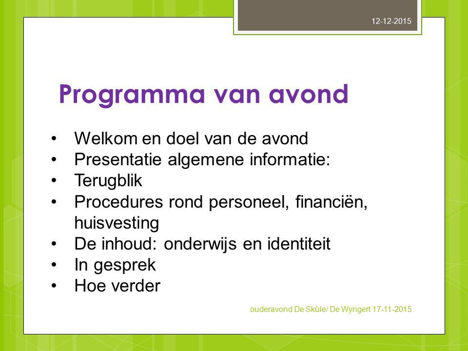 Programma van avond Welkom en doel van de avond Presentatie algemene informatie: Terugblik Procedures rond personeel, financiën, huisvesting De inhoud