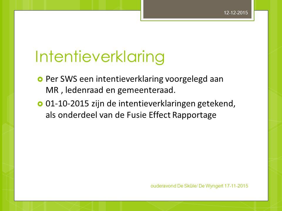 Intentieverklaring  Per SWS een intentieverklaring voorgelegd aan MR, ledenraad en gemeenteraad.  01-10-2015 zijn de intentieverklaringen getekend,