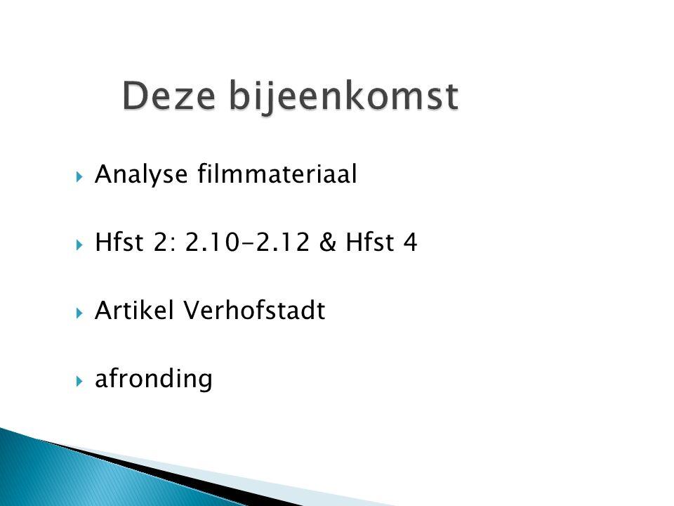  Analyse filmmateriaal  Hfst 2: 2.10-2.12 & Hfst 4  Artikel Verhofstadt  afronding