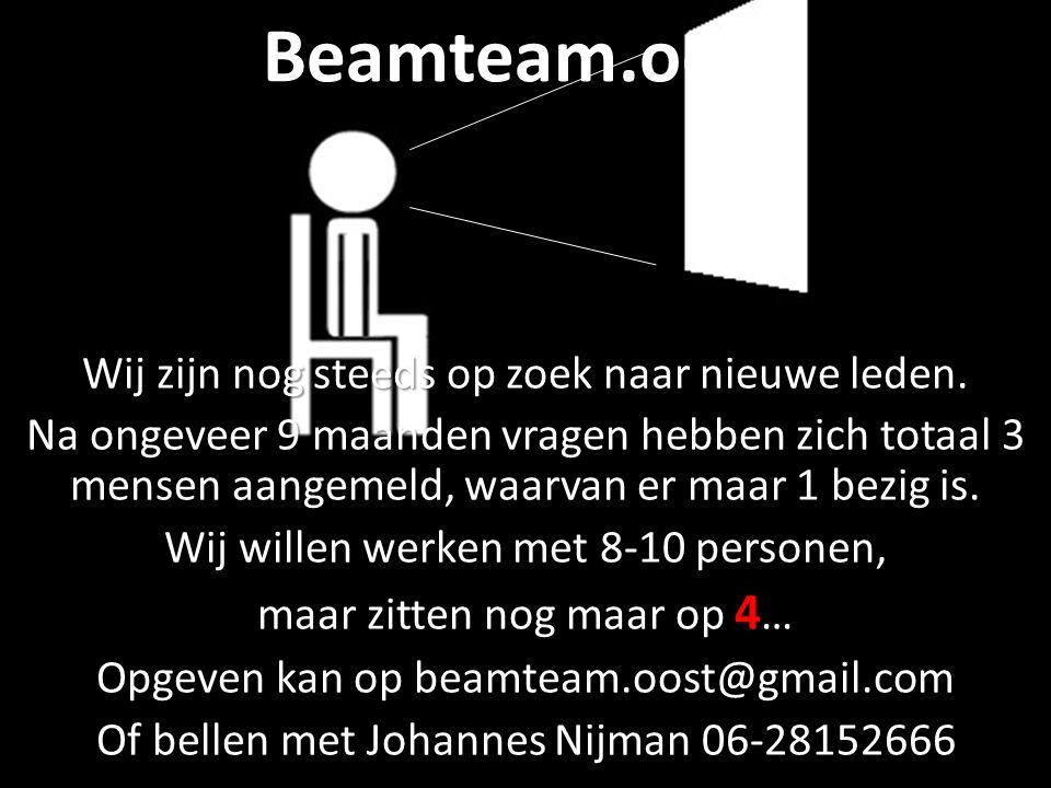 Beamteam.oost Wij zijn nog steeds op zoek naar nieuwe leden. Na ongeveer 9 maanden vragen hebben zich totaal 3 mensen aangemeld, waarvan er maar 1 bez