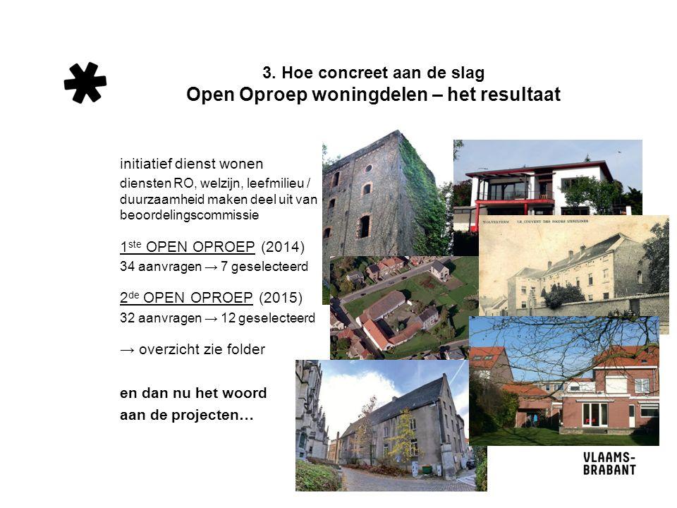 3. Hoe concreet aan de slag Open Oproep woningdelen – het resultaat initiatief dienst wonen diensten RO, welzijn, leefmilieu / duurzaamheid maken deel