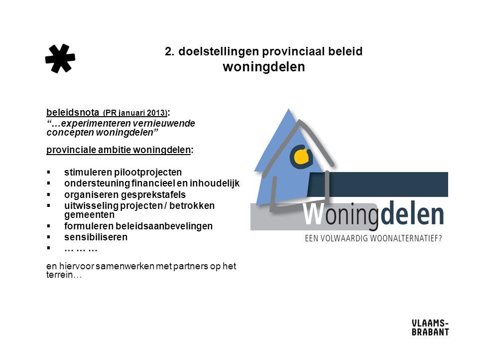 """2. doelstellingen provinciaal beleid woningdelen beleidsnota (PR januari 2013) : """"…experimenteren vernieuwende concepten woningdelen"""" provinciale ambi"""