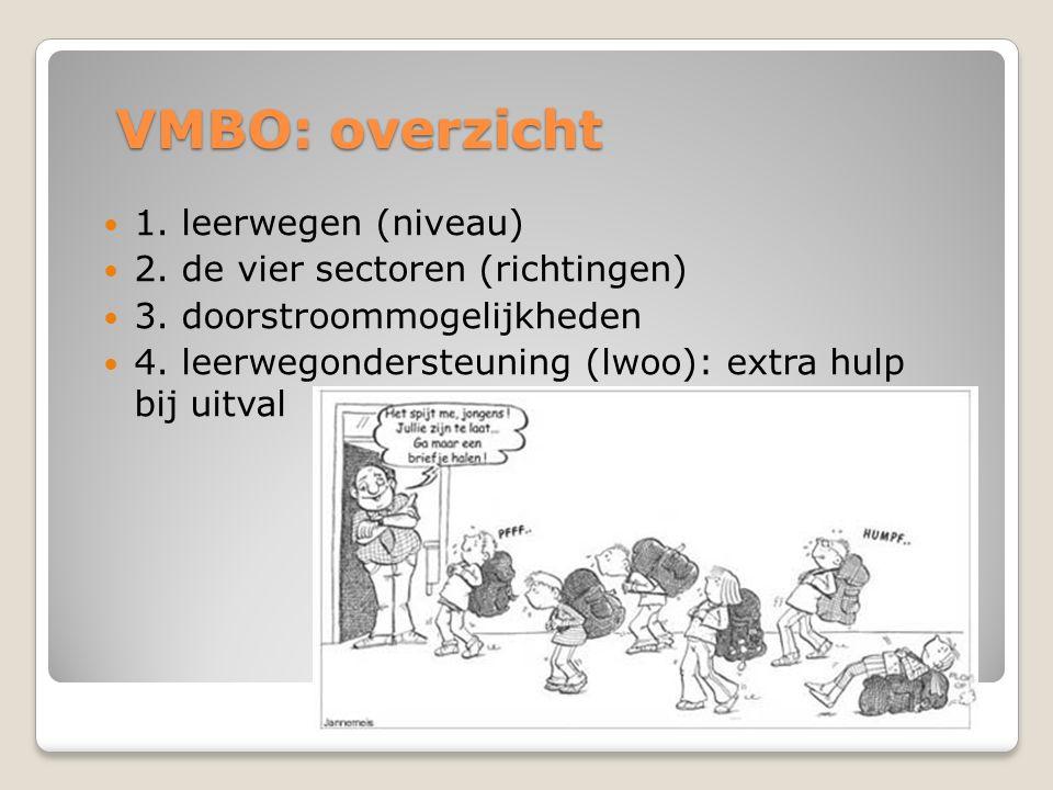 VMBO: overzicht 1. leerwegen (niveau) 2. de vier sectoren (richtingen) 3. doorstroommogelijkheden 4. leerwegondersteuning (lwoo): extra hulp bij uitva
