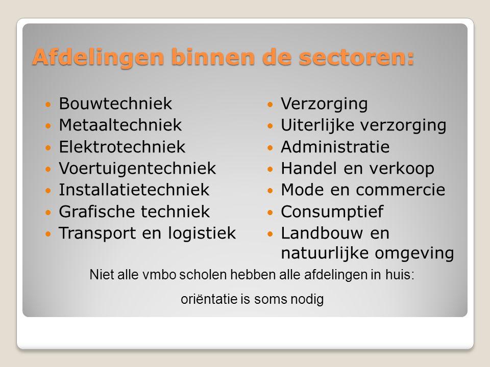 Afdelingen binnen de sectoren: Bouwtechniek Metaaltechniek Elektrotechniek Voertuigentechniek Installatietechniek Grafische techniek Transport en logi