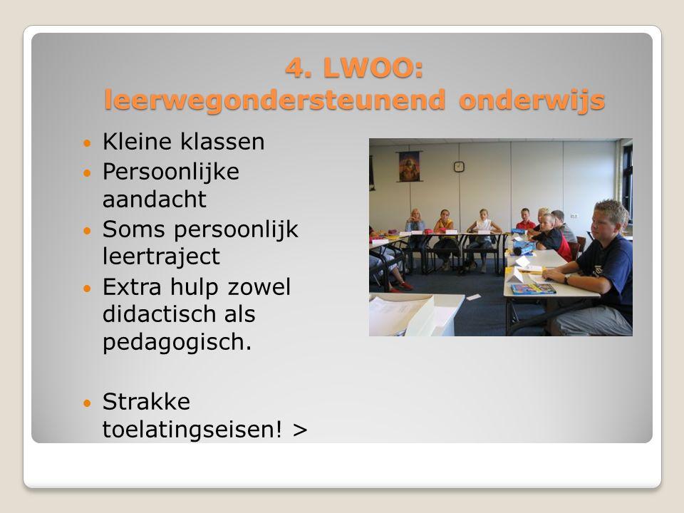 4. LWOO: leerwegondersteunend onderwijs Kleine klassen Persoonlijke aandacht Soms persoonlijk leertraject Extra hulp zowel didactisch als pedagogisch.