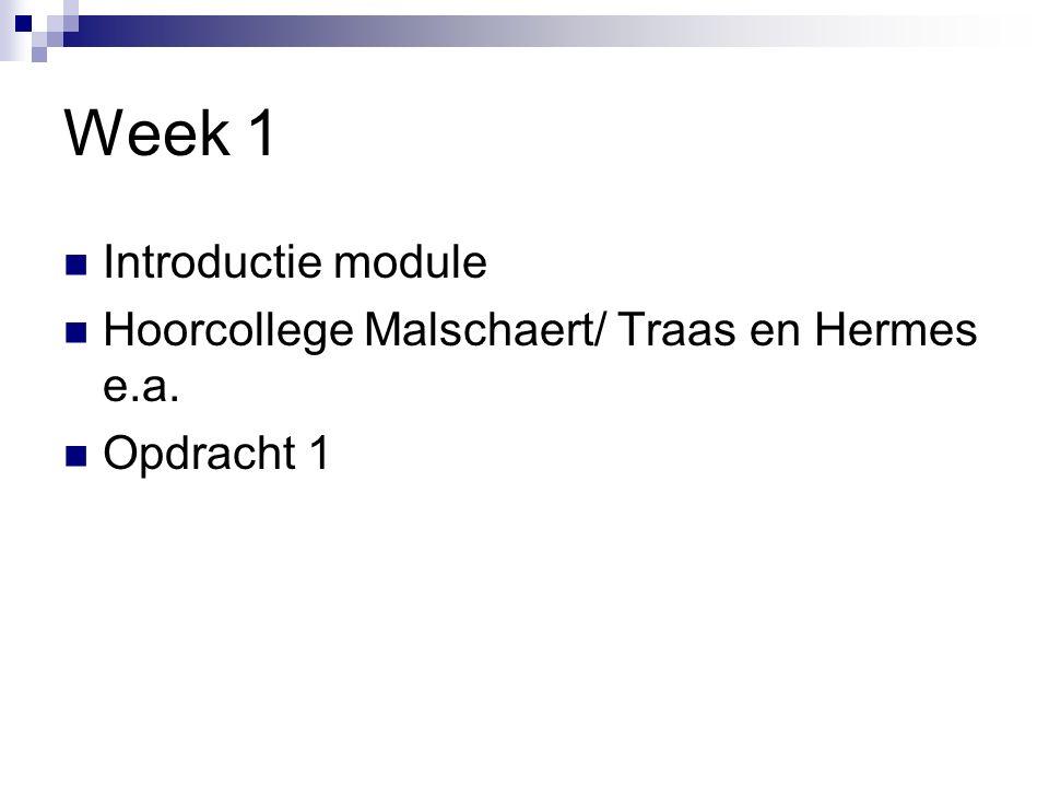 Week 1 Introductie module Hoorcollege Malschaert/ Traas en Hermes e.a. Opdracht 1