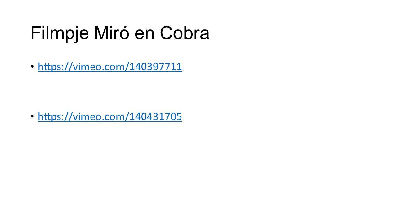 Filmpje Miró en Cobra https://vimeo.com/140397711 https://vimeo.com/140431705