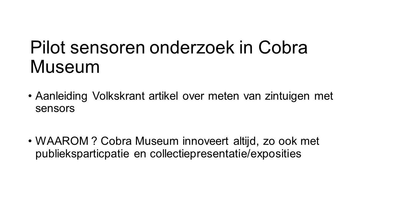 Pilot sensoren onderzoek in Cobra Museum Aanleiding Volkskrant artikel over meten van zintuigen met sensors WAAROM ? Cobra Museum innoveert altijd, zo