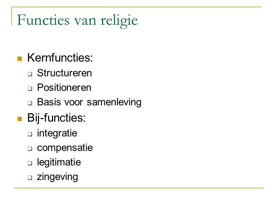 Functies van religie Kernfuncties:  Structureren  Positioneren  Basis voor samenleving Bij-functies:  integratie  compensatie  legitimatie  zingeving