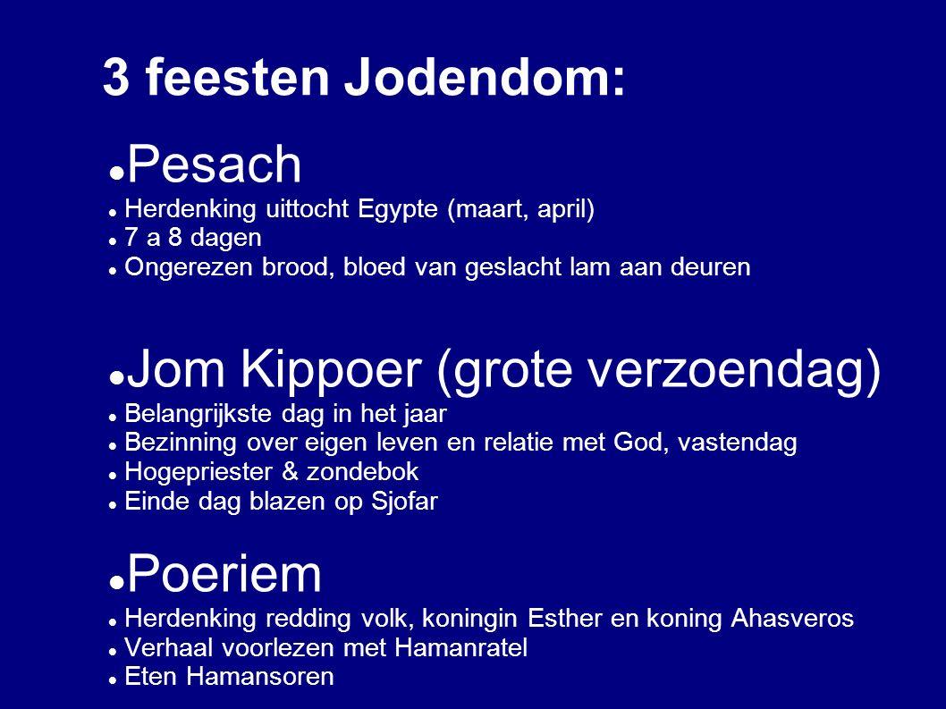 3 feesten Jodendom: Pesach Herdenking uittocht Egypte (maart, april) 7 a 8 dagen Ongerezen brood, bloed van geslacht lam aan deuren Jom Kippoer (grote