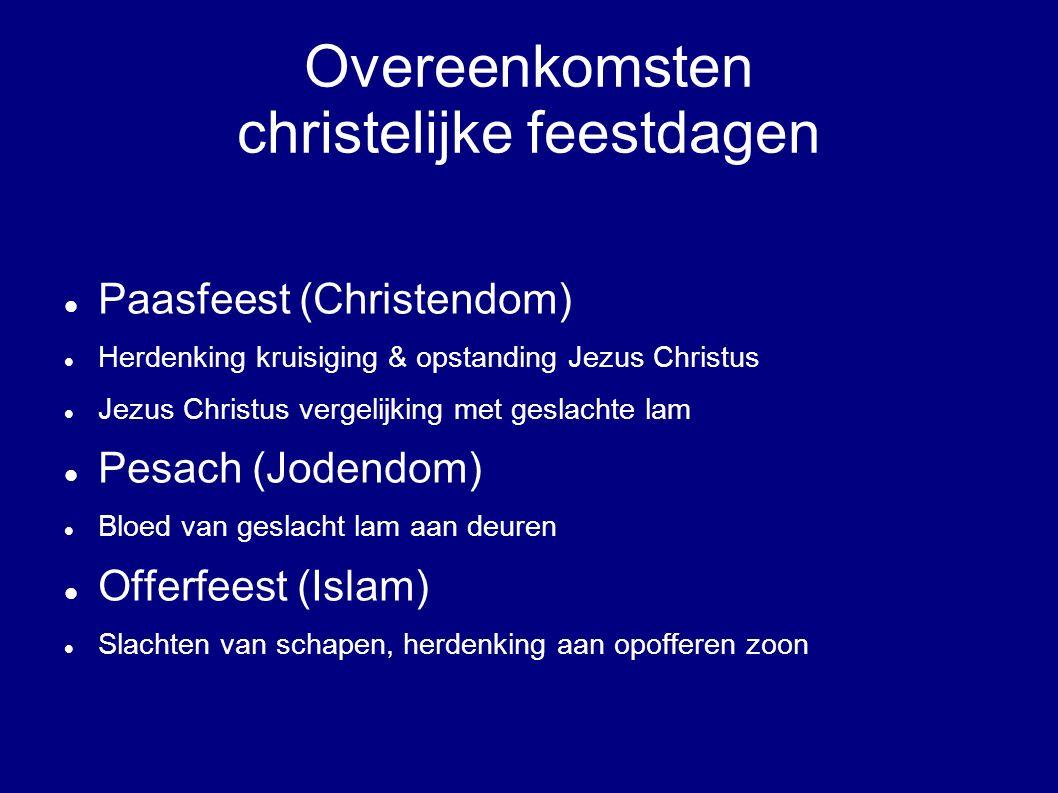 Overeenkomsten christelijke feestdagen Paasfeest (Christendom) Herdenking kruisiging & opstanding Jezus Christus Jezus Christus vergelijking met gesla