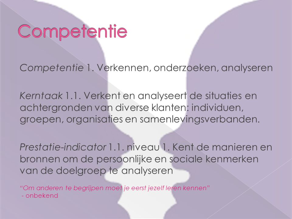 Competentie 1. Verkennen, onderzoeken, analyseren Kerntaak 1.1. Verkent en analyseert de situaties en achtergronden van diverse klanten: individuen, g