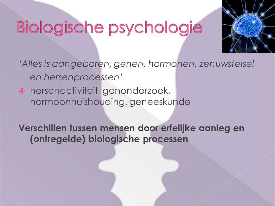 'Alles is aangeboren, genen, hormonen, zenuwstelsel en hersenprocessen'  hersenactiviteit, genonderzoek, hormoonhuishouding, geneeskunde Verschillen