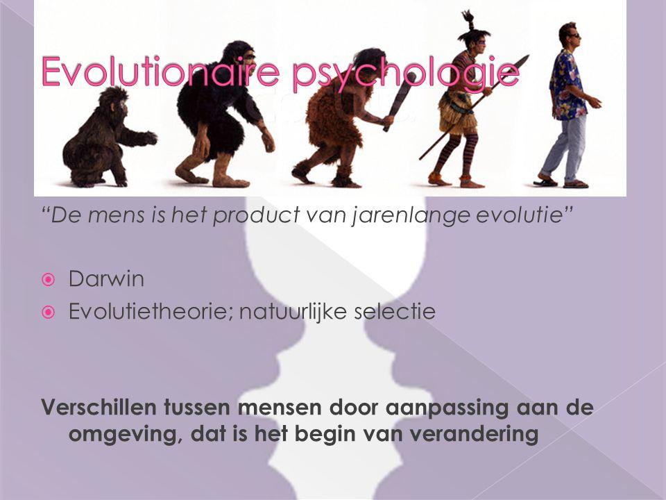 De mens is het product van jarenlange evolutie  Darwin  Evolutietheorie; natuurlijke selectie Verschillen tussen mensen door aanpassing aan de omgeving, dat is het begin van verandering