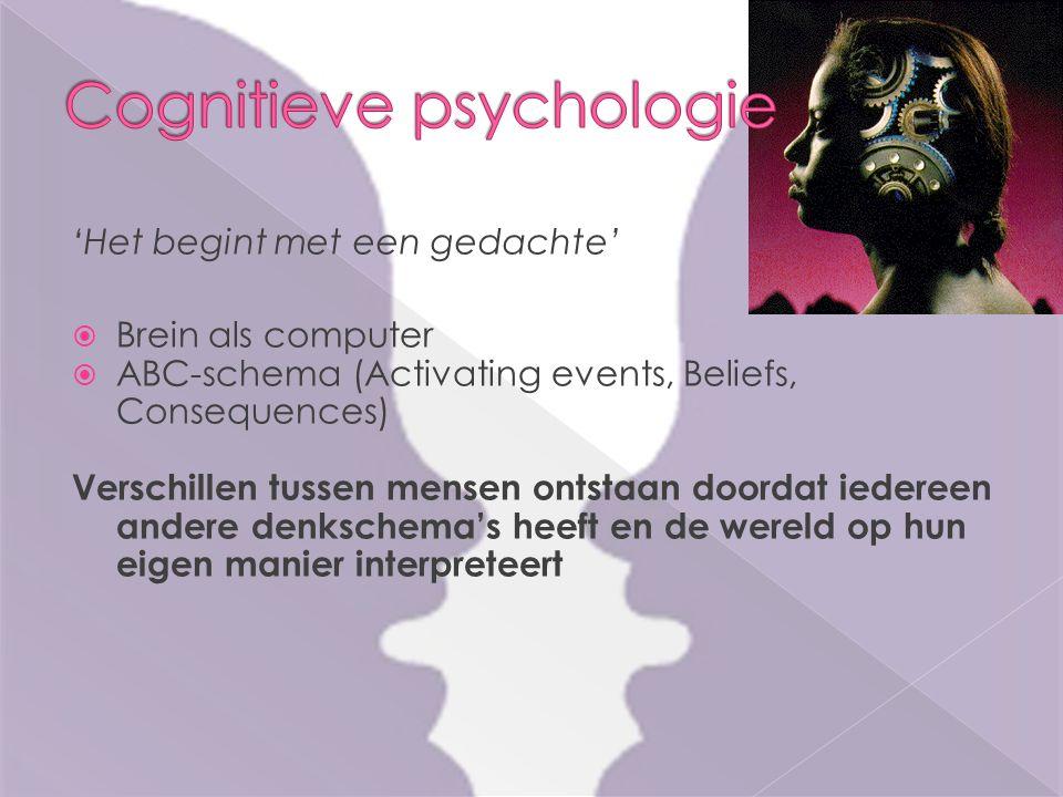 'Het begint met een gedachte'  Brein als computer  ABC-schema (Activating events, Beliefs, Consequences) Verschillen tussen mensen ontstaan doordat iedereen andere denkschema's heeft en de wereld op hun eigen manier interpreteert