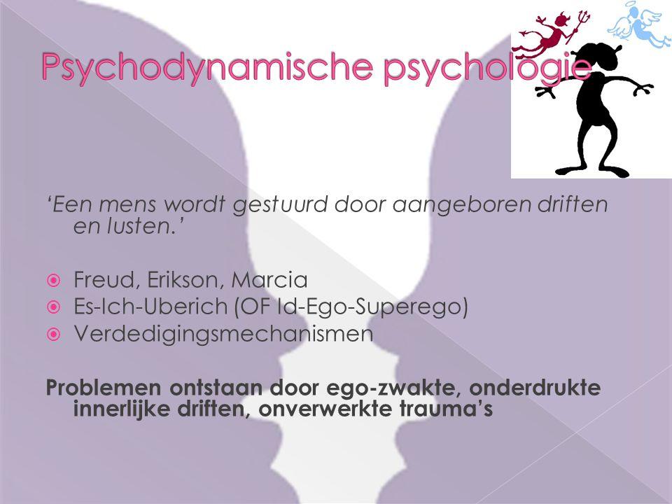 'Een mens wordt gestuurd door aangeboren driften en lusten.'  Freud, Erikson, Marcia  Es-Ich-Uberich (OF Id-Ego-Superego)  Verdedigingsmechanismen Problemen ontstaan door ego-zwakte, onderdrukte innerlijke driften, onverwerkte trauma's