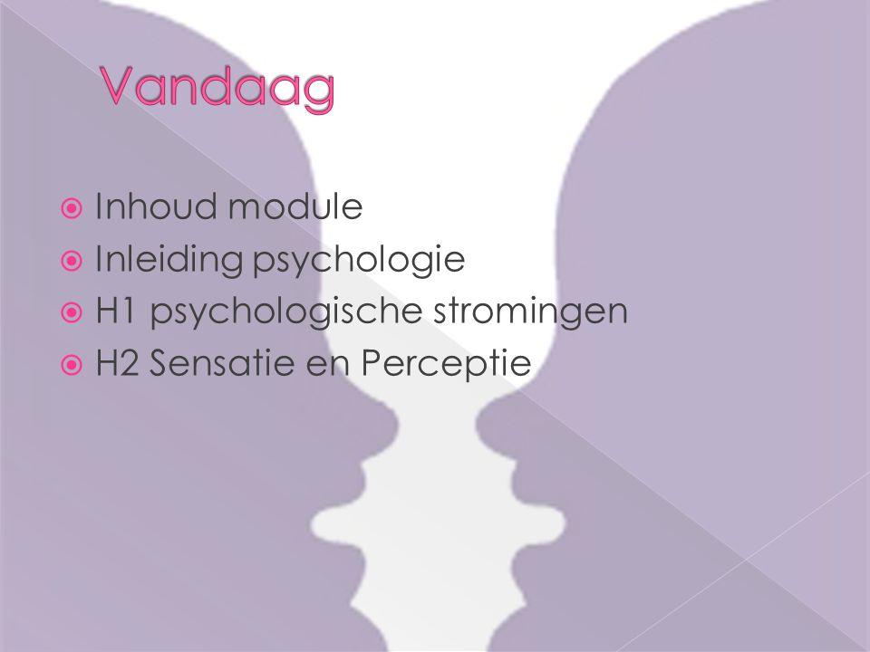  Inhoud module  Inleiding psychologie  H1 psychologische stromingen  H2 Sensatie en Perceptie