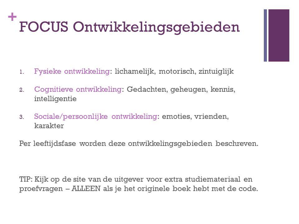 + FOCUS Ontwikkelingsgebieden 1. Fysieke ontwikkeling: lichamelijk, motorisch, zintuiglijk 2.