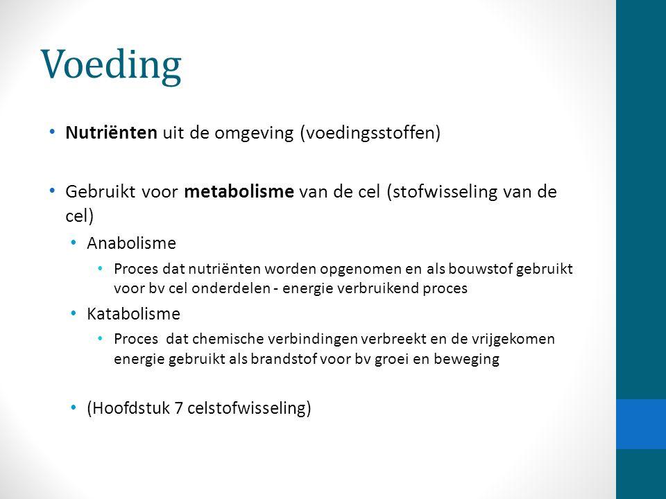 Voeding Nutriënten uit de omgeving (voedingsstoffen) Gebruikt voor metabolisme van de cel (stofwisseling van de cel) Anabolisme Proces dat nutriënten