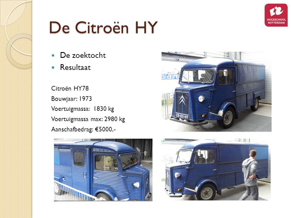 De Citroën HY De zoektocht Resultaat Citroën HY78 Bouwjaar: 1973 Voertuigmassa: 1830 kg Voertuigmassa max: 2980 kg Aanschafbedrag: €5000,-