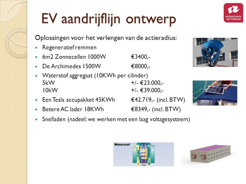 Oplossingen voor het verlengen van de actieradius: Regeneratief remmen 6m2 Zonnecellen 1000W €3400,- De Archimedes 1500W€8000,- Waterstof aggregaat (10KWh per cilinder) 5kW +/- €23.000,- 10kW +/- €39.000,- Een Tesla accupakket 45KWh€42.719,- (incl.