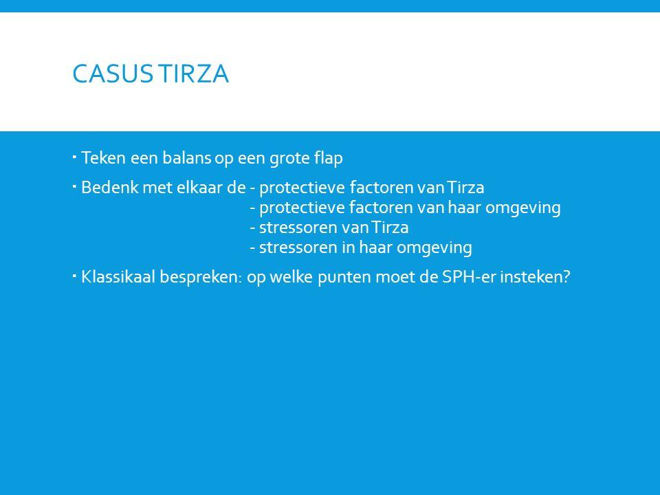 CASUS TIRZA  Teken een balans op een grote flap  Bedenk met elkaar de - protectieve factoren van Tirza - protectieve factoren van haar omgeving - st