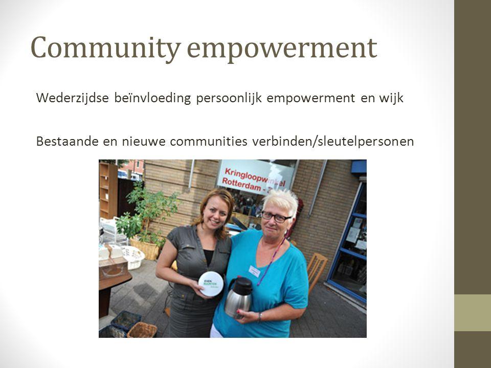 Community empowerment Wederzijdse beïnvloeding persoonlijk empowerment en wijk Bestaande en nieuwe communities verbinden/sleutelpersonen
