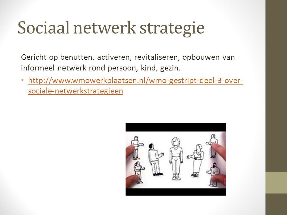 Sociaal netwerk strategie Gericht op benutten, activeren, revitaliseren, opbouwen van informeel netwerk rond persoon, kind, gezin.