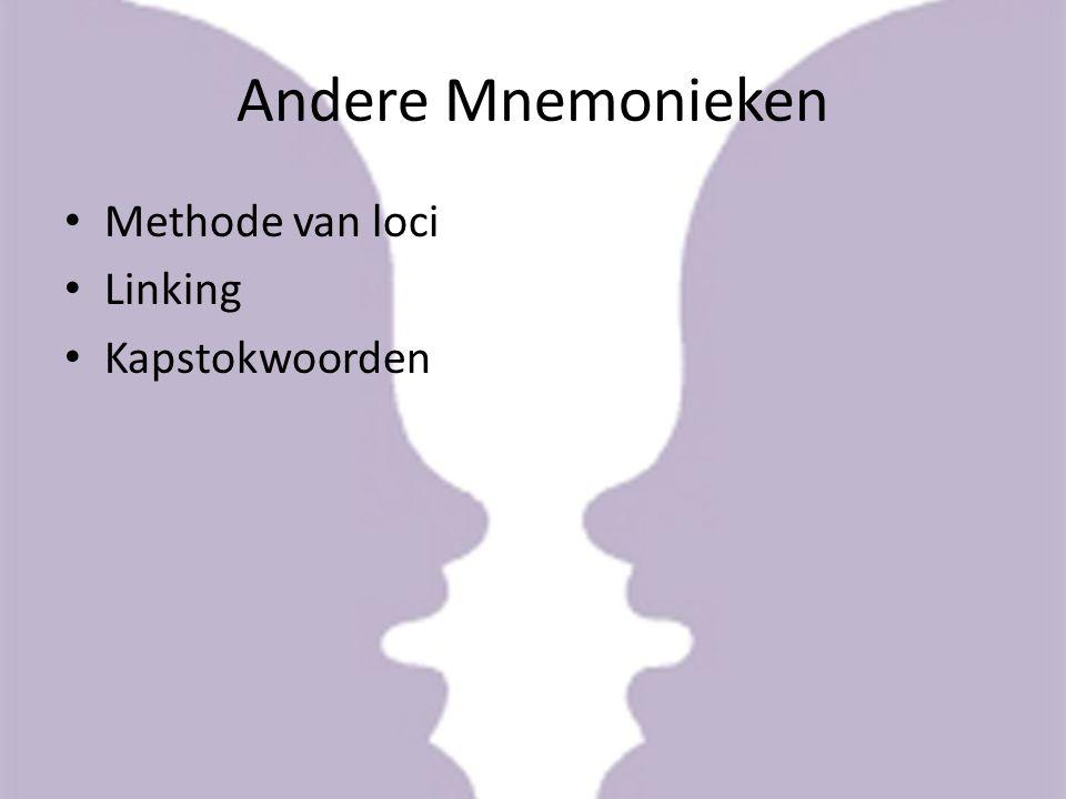 Andere Mnemonieken Methode van loci Linking Kapstokwoorden