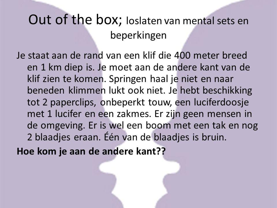 Out of the box; loslaten van mental sets en beperkingen Je staat aan de rand van een klif die 400 meter breed en 1 km diep is. Je moet aan de andere k