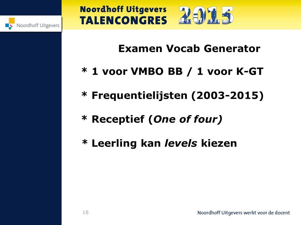 18 Examen Vocab Generator * 1 voor VMBO BB / 1 voor K-GT * Frequentielijsten (2003-2015) * Receptief (One of four) * Leerling kan levels kiezen