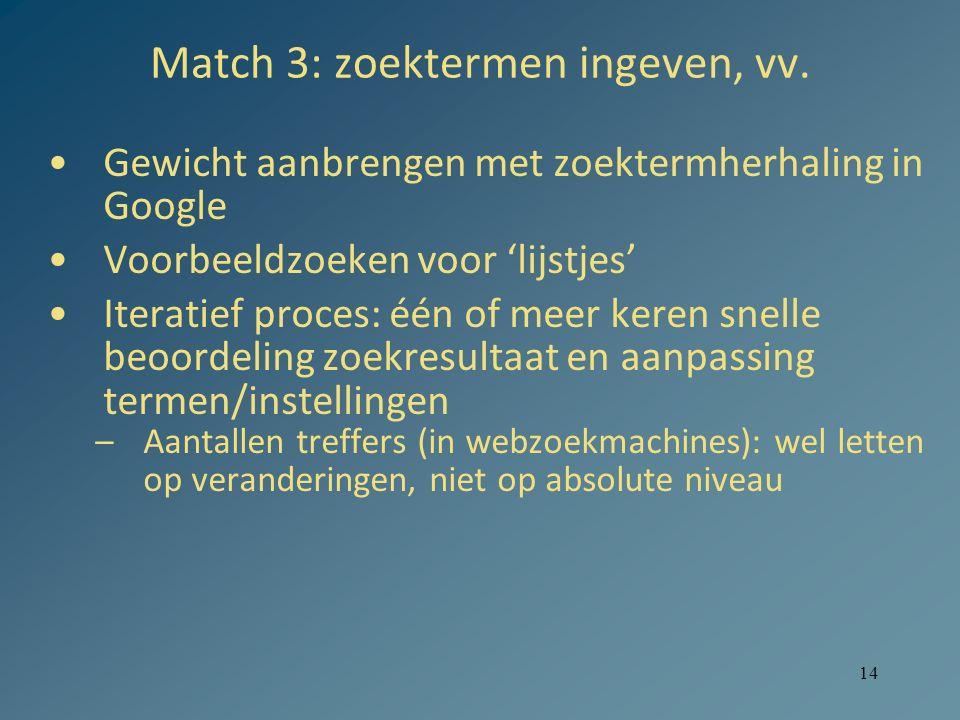 14 Match 3: zoektermen ingeven, vv. Gewicht aanbrengen met zoektermherhaling in Google Voorbeeldzoeken voor 'lijstjes' Iteratief proces: één of meer k