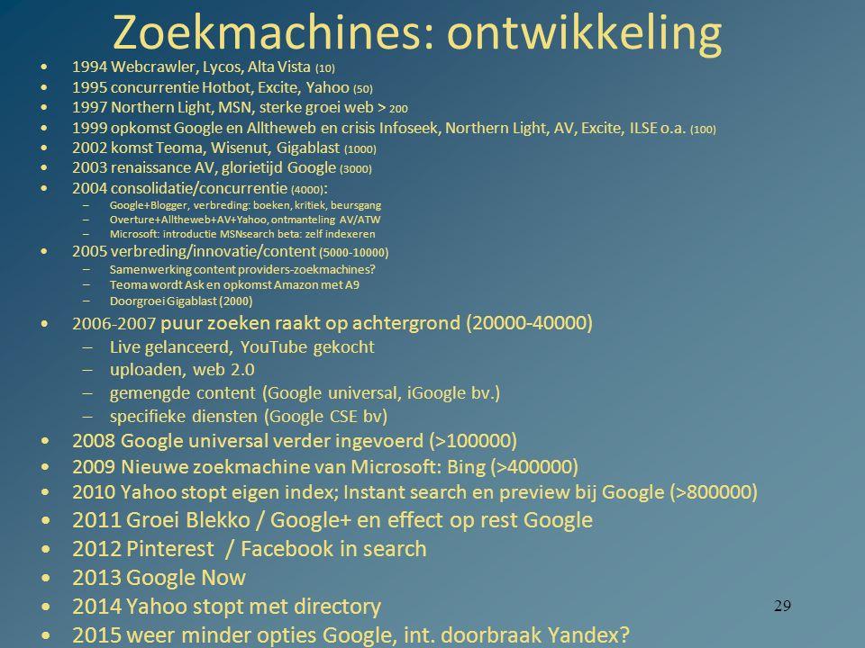 29 Zoekmachines: ontwikkeling 1994 Webcrawler, Lycos, Alta Vista (10) 1995 concurrentie Hotbot, Excite, Yahoo (50) 1997 Northern Light, MSN, sterke gr