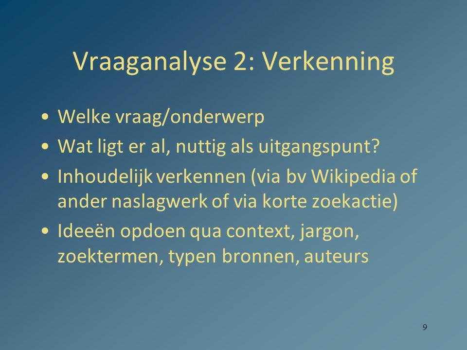 9 Vraaganalyse 2: Verkenning Welke vraag/onderwerp Wat ligt er al, nuttig als uitgangspunt? Inhoudelijk verkennen (via bv Wikipedia of ander naslagwer